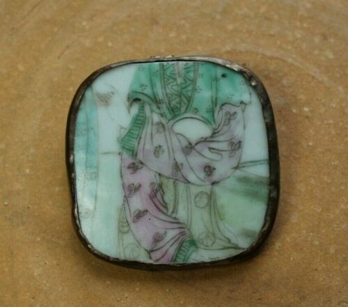 Brass Mounted Chinese Painted Porcelain Fragment Brooch Pin
