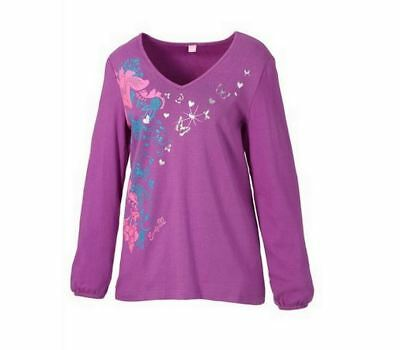 Tunika Gr.44/46 Sheego Shirt Tunikashirt Schmetterlinge Damen Langarm pink lila ()
