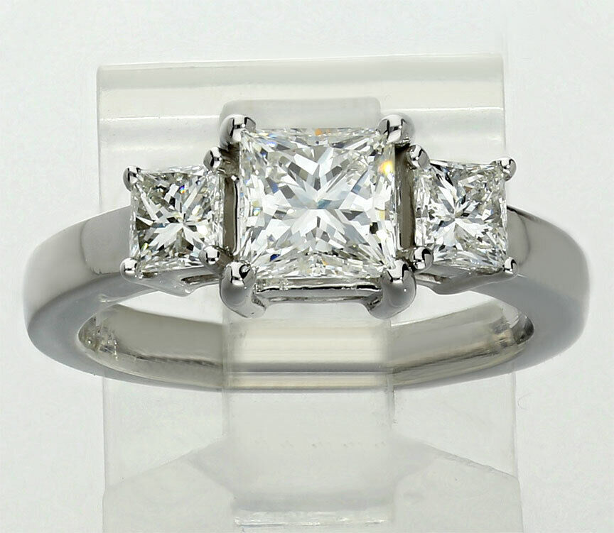 New GIA diamond engagement ring 14K white gold 1.07CT princess brilliant 1.73CTW