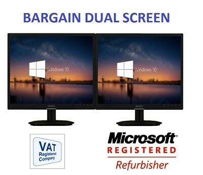 "2 x 19"" Cheap Monitor VGA TFT LCD Office Laptop Gaming Computer PC Dual Monitor"