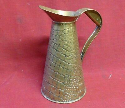 Vintage Arts & Crafts Brass Lizard Skin Large Jug Pitcher