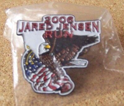 2006 Jared Jensen Run motorcycle pin Bald Eagle & American Flag