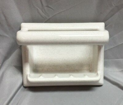 Vintage Porcelain Soap Dish with Bar Tile White With Grey Speckles 447-18C
