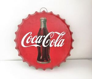 Vintage Retro Coca Cola Embossed 3D Tin Metal Bottle Cap Hanging Round Sign
