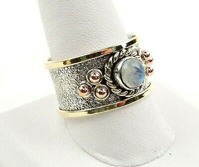 - Sterling Silver Moonstone Tri Color Textured Wide Band Ring