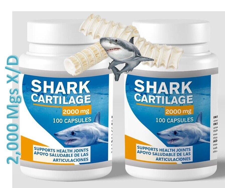 2 Shark Cartilage 2000mg x/d 200caps Defense System Cartilago de Tiburon natural 3