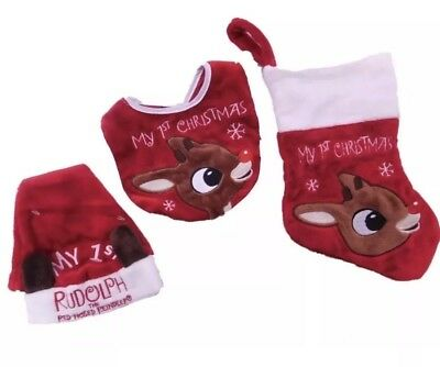 - Rudolph Red-Nosed Reindeer Baby's 1st Christmas Set Santa Hat Bib Stocking AA89