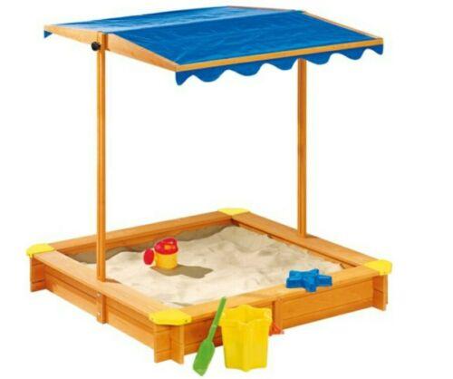 PLAYTIVE  JUNIOR Sandkasten Sandkiste 118 x 118 mit Dach Massivholz NEU