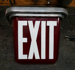 antique exit sign red glass working