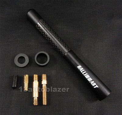 "4.7"" Black Ralliart Short Carbon Fiber Antenna Arial For Mitsubishi"