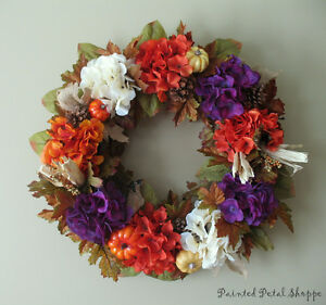 Autumn Hydrangea Wreath/Plum/Burnt Orange/Fall Decor Belleville Belleville Area image 2