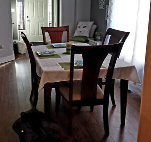 Wood Dining Table with 6 chairs and leaf