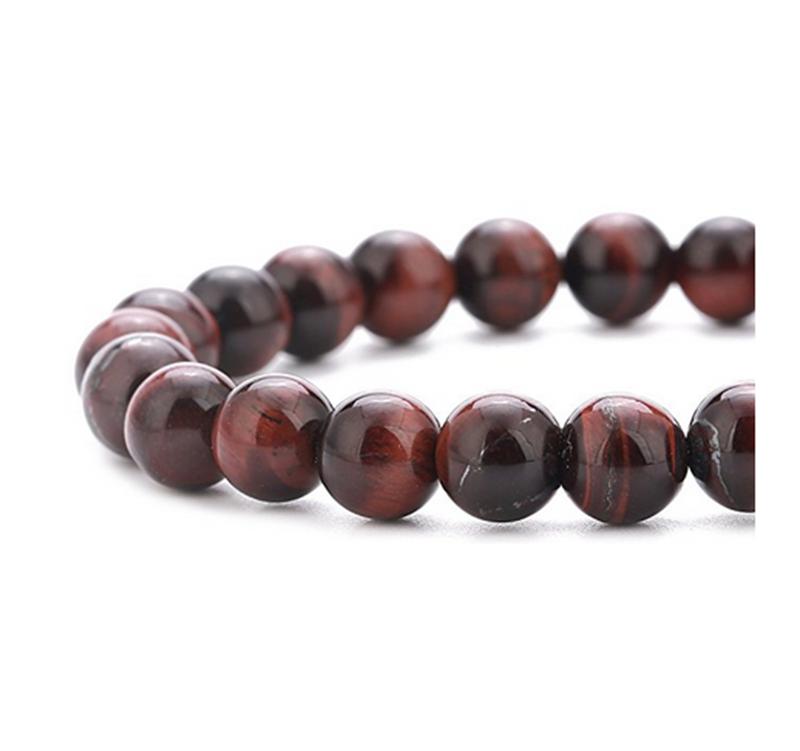 Men Women 8mm Lava Rock Chakra Beads Elastic Natural Stone Agate Bracelet Bracelets