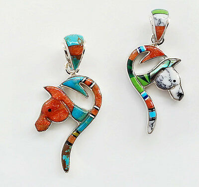 CUTE HANDCRAFTED HORSE HEAD PENDANT TURQUOISE/MULTICOLOR STONES .925 SILVER