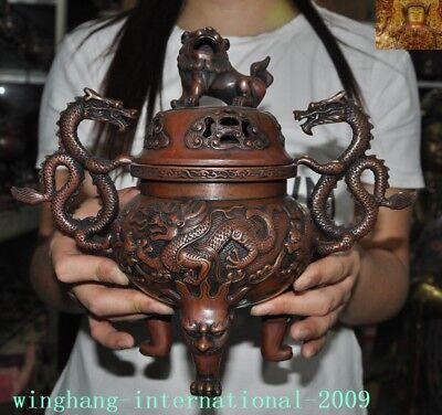 "11/""China Buddhism temple bronze Dragon lion Foo dog Incense burner Censer statue"
