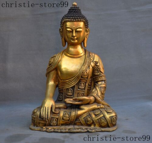 Old Tibet Buddhism Joss Bronze Gilt Sakyamuni Shakyamuni Medicine Buddha Statue