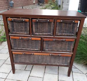 6 Drawer Chest - Wicker Rattan Dresser