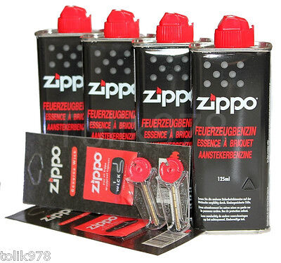 4x Zippo BENZIN a 125ml + 12 Feuersteine Flints + 2 Docht, ZIPPO Zubehör SET