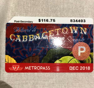 TTC Post Secondary Metropass for sale
