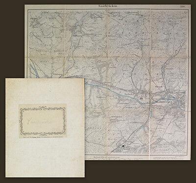 1882 Map of Saarbrücken Saarland Lithographie-Plan der Gegend um Saarbrücken