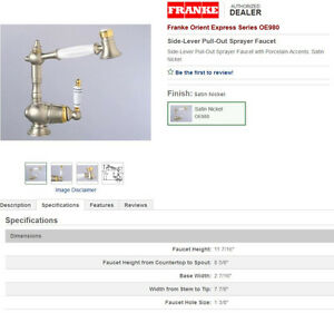 Solid Brass Franke Orient Express Series OE980 Kitchen Faucet