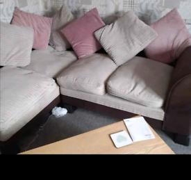 Corded fabric/leather corner sofa in good conditon