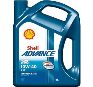 Shell Advance AX7 10W-40 4T Motorcycle Engine Oil Semi Synthetic 4 Litres 4L