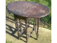 Antique Old Small Oak Side table - Gateleg Style in need of some re-finishing