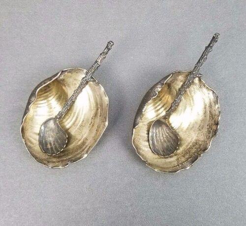 2 Narragansett Salt Cellars w Spoons Gorham Sterling Silver Antique Shell