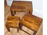 JALI SHEESHAM WOOD NEST OF TABLES 45cm x 30cm x 45cm ROSEWOOD NESTING SET OF 3.* D7