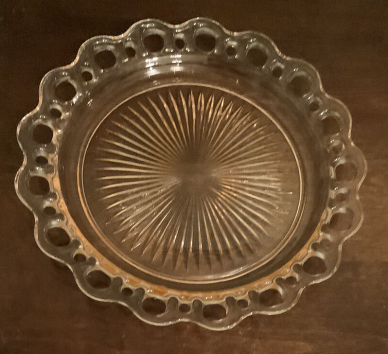 Vintage Pink Depression Open Lace Edge Old Colony Serving Platter Cake Plate