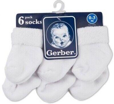GERBER Newborn Baby Unisex 6-Pack Cotton Ankle Socks - White - BRAND -