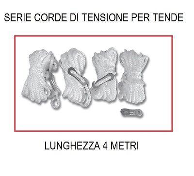 CORDE DI TENSIONE DA 4 METRI REGOLABILI - CONFEZIONE DA 4 PEZZI - PER CAMPEGGIO