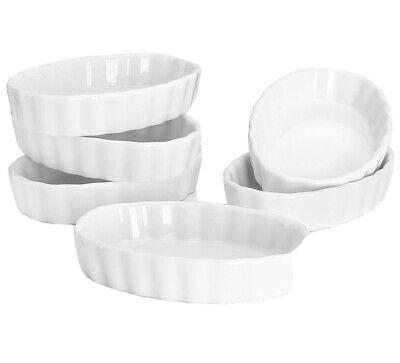 Sweese 504.001 Porcelain Ramekins Oval Shape-4 Ounce for Creme Brulee - Set of 6