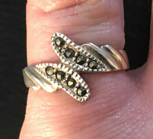 VTG Sterling Silver Ring Marcasite Wrap Style Sz 5.75 2g NF925 #1237
