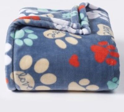 THE BIG ONE Paws CAT DOG Pattern PLUSH Oversized THROW Blanket SUPERSOFT 60x72