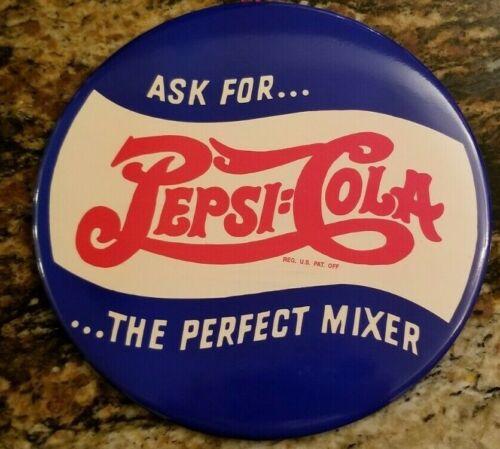 """Pepsi cola double dot 9"""" celluliod button tin sign soda gas oil  vintage NOS  A"""