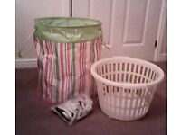 Laundry hamper , basket and pegs (hamper is new)