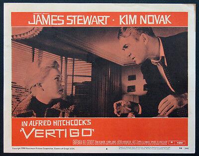VERTIGO JAMES STEWART KIM NOVAK HITCHCOCK 1958 LOBBY CARD #8