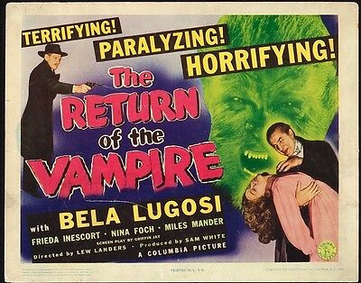 Return of the Vampire Vintage Title Lobby Card Movie Poster Bela Lugosi 1943