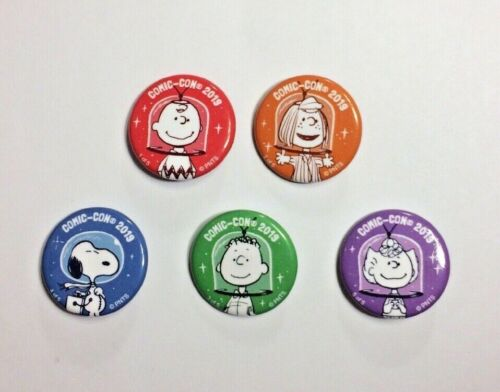 """Peanuts 2019 SDCC Promo Button 1.25"""" Complete Set of 5 Snoopy Charlie Sally + 2"""