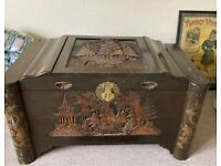 Antique - Large Carved Chinese Chest and sliding draw for sale