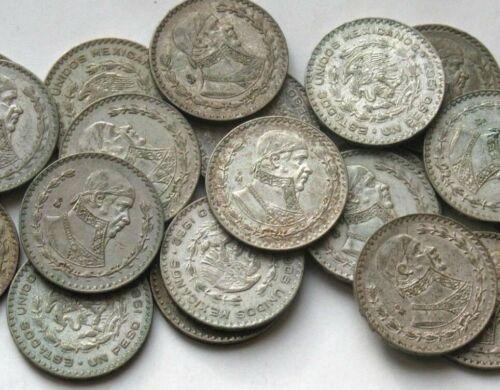 2 LARGE 1957-1967 SILVER MEXICO UN PESO COINS! TWO 1 PESO MEXICAN COINS!