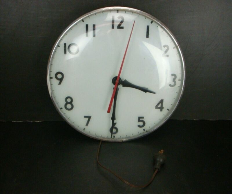 """Vintage 15"""" GLASS FRONT & FACE Lighted CLOCK by ELECTRIC TIME Co."""