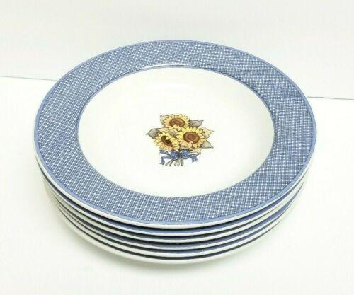 Vintage Susan A. Winget FARMHOUSE BLUE Soup Cereal Bowls SUNFLOWERS FLOWER 1995