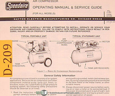 Dayton Air Compressor All Models Operations And Service Manual