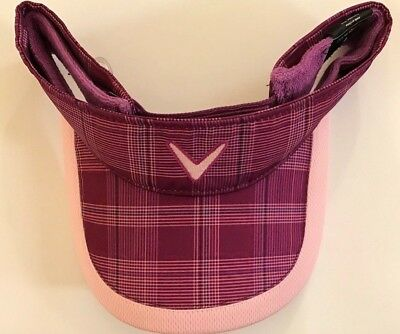 NEW Callaway Golf Grape Juice Purple Plaid Adjustable Visor/Hat/Cap 5213018 Golf Plaid Visor