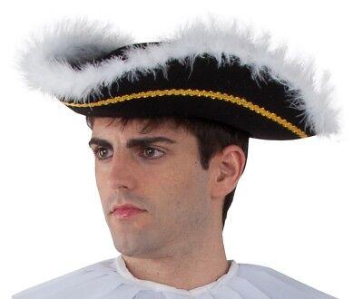 Hut tricorn schwarz Feder Kostüm Marquis Pirat edel neu billig