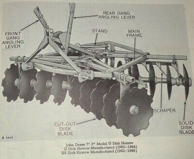 John Deere U Us Disk Harrow Parts Catalog Manual Book Original Jd Pc-751