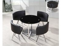 Round Tempered Glass Dining Table and 4 Leather Chairs For Sale !!!!